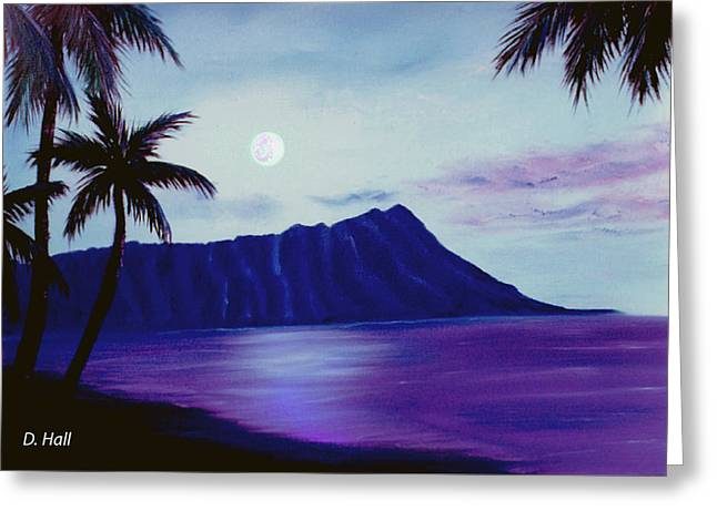 Diamond Head Moon Waikiki #34 Greeting Card by Donald k Hall