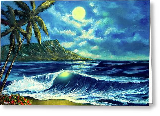 Diamond Head Moon Waikiki Beach #407 Greeting Card by Donald k Hall