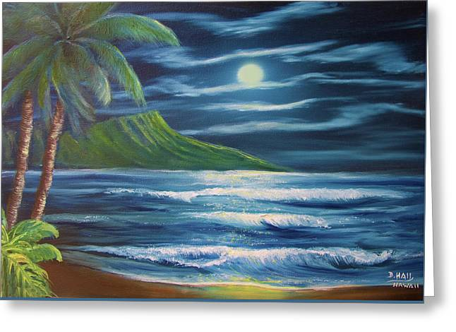 Diamond Head Moon Waikiki Beach  #409 Greeting Card by Donald k Hall