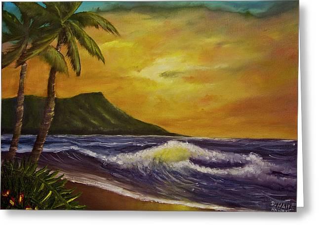 Diamond Head Sunrise Oahu #414 Greeting Card by Donald k Hall