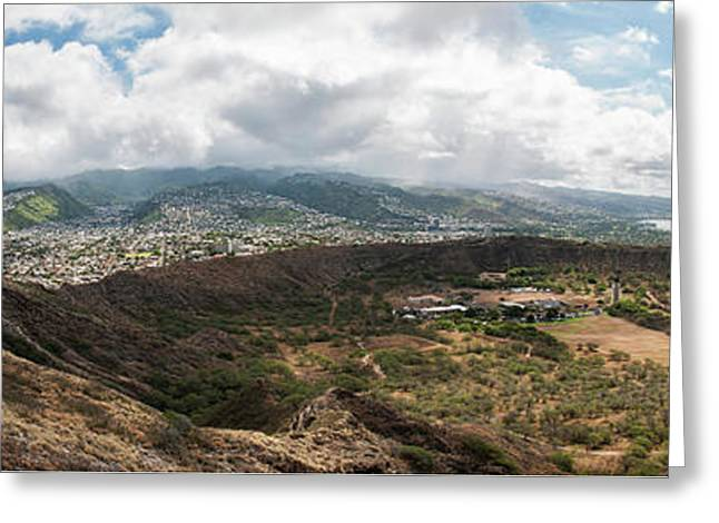 Diamond Head View Panoramic Greeting Card
