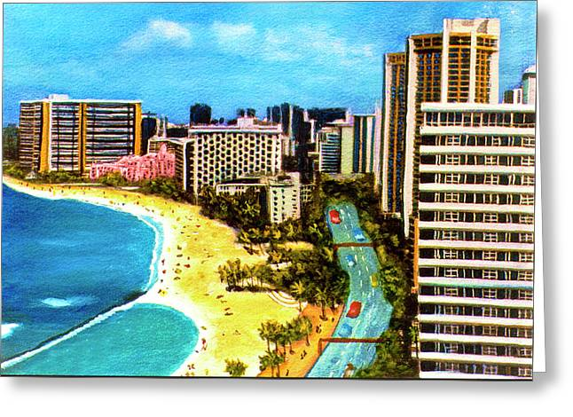 Diamond Head Waikiki Beach Kalakaua Avenue #94 Greeting Card by Donald k Hall