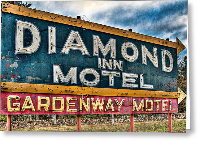 Diamond Inn Motel Sign Greeting Card by Robert  FERD Frank
