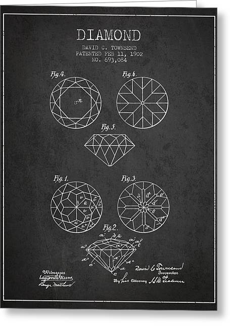 Diamond Patent From 1902 - Charcoal Greeting Card by Aged Pixel