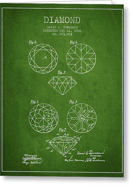 Diamond Patent From 1902 - Green Greeting Card
