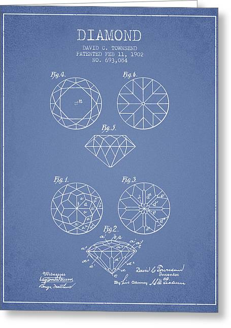 Diamond Patent From 1902 - Light Blue Greeting Card