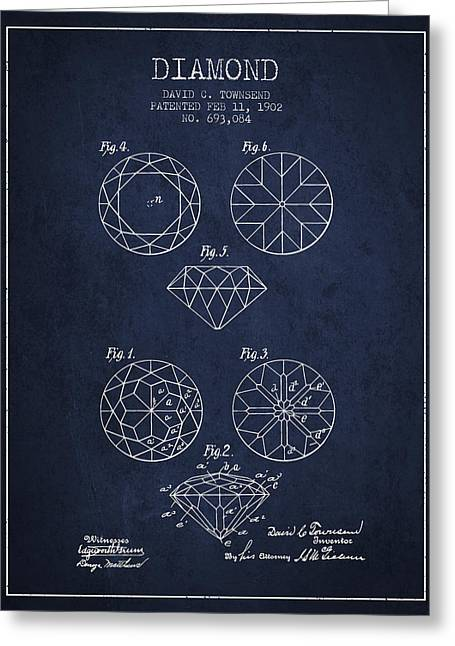 Diamond Patent From 1902 - Navy Blue Greeting Card