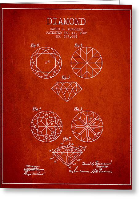 Diamond Patent From 1902 - Red Greeting Card by Aged Pixel