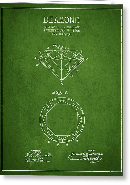 Diamond Patent From 1906 - Green Greeting Card