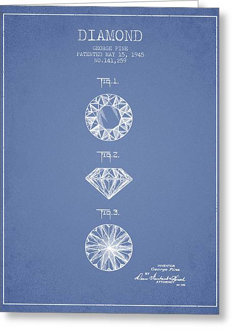 Diamond Patent From 1945 - Light Blue Greeting Card by Aged Pixel