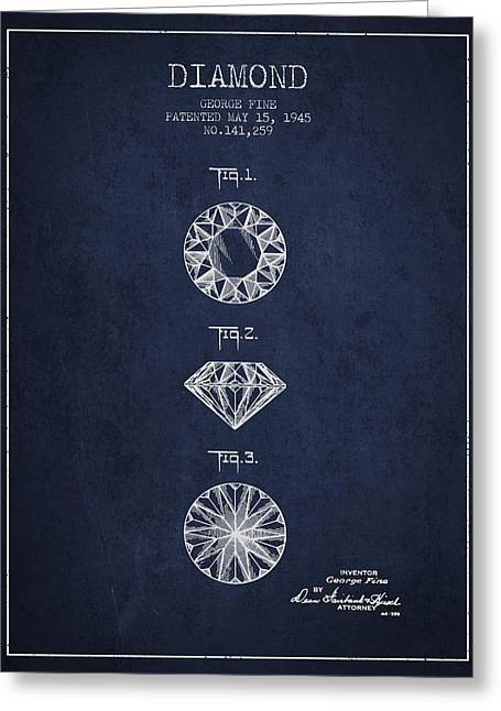 Diamond Patent From 1945 - Navy Blue Greeting Card by Aged Pixel
