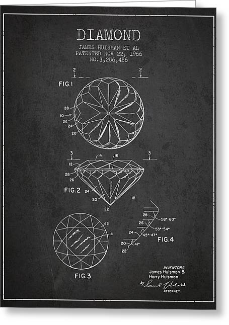 Diamond Patent From 1966- Charcoal Greeting Card by Aged Pixel