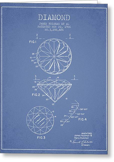 Diamond Patent From 1966- Light Blue Greeting Card by Aged Pixel