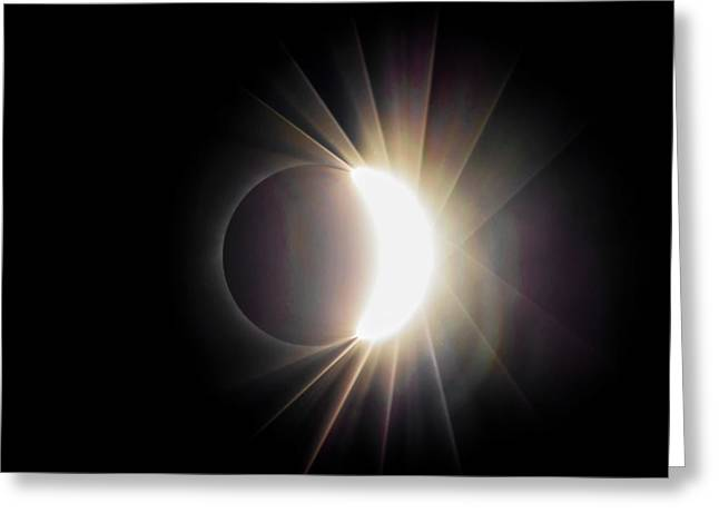 Greeting Card featuring the photograph Diamond Ring With Flare During Solar Eclipse by Lori Coleman