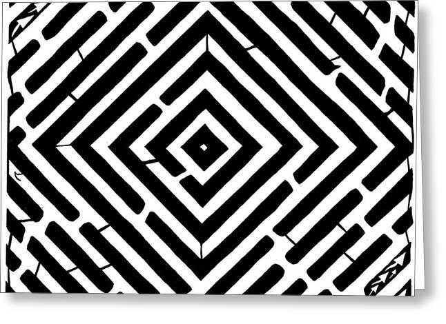 Diamond Shaped Optical Illusion Maze Greeting Card by Yonatan Frimer Maze Artist