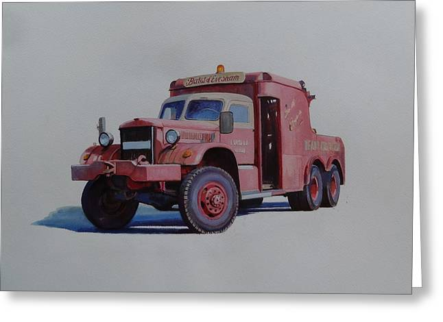 Greeting Card featuring the painting Diamond T Wrecker. by Mike Jeffries