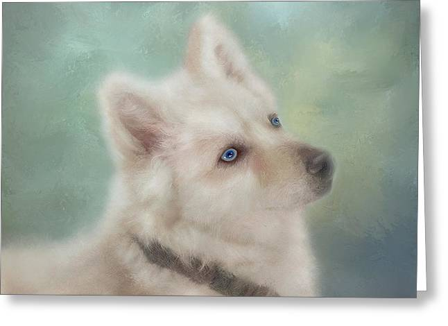 Greeting Card featuring the mixed media Diamond, The White Shepherd by Colleen Taylor