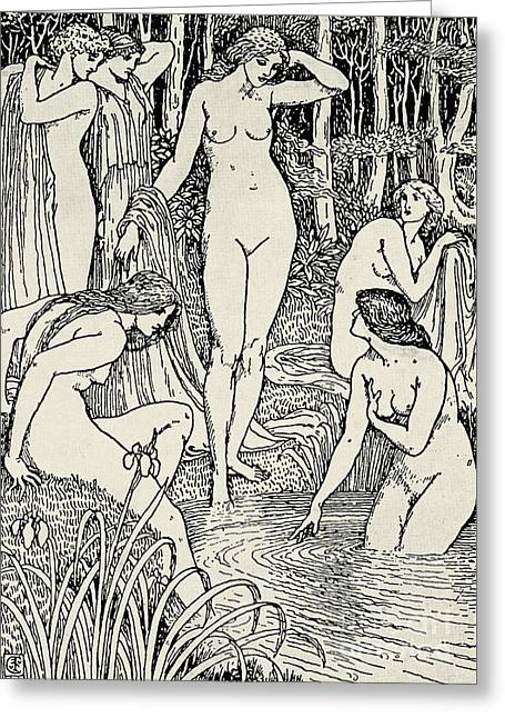 Diana And Her Nymphs Greeting Card