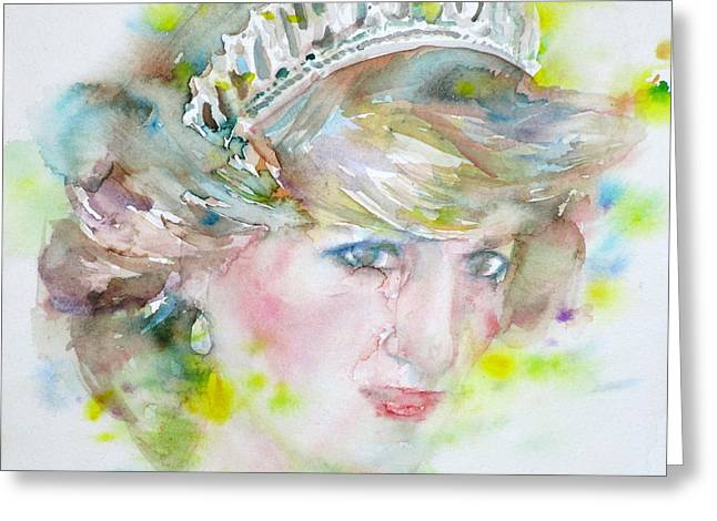 Diana - Princess Of Wales - Watercolor Portrait.2 Greeting Card by Fabrizio Cassetta