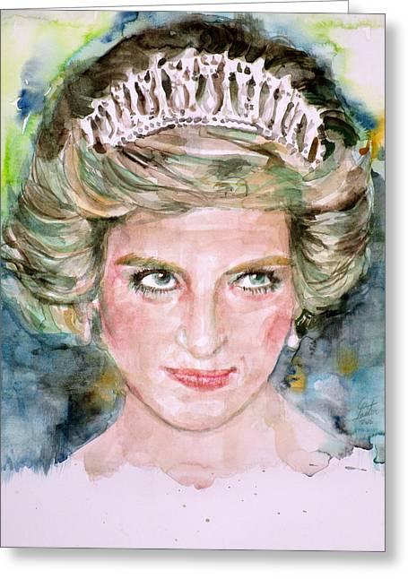 Diana - Princess Of Wales - Watercolor Portrait.4 Greeting Card by Fabrizio Cassetta