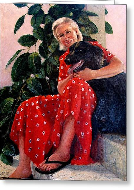 Greeting Card featuring the painting Diane And Cinder by Donelli  DiMaria