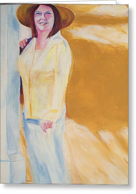 Greeting Card featuring the painting Diane by Eric  Schiabor