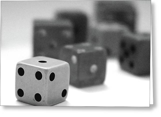 Dice 1- Black And White Photo By Linda Woods Greeting Card