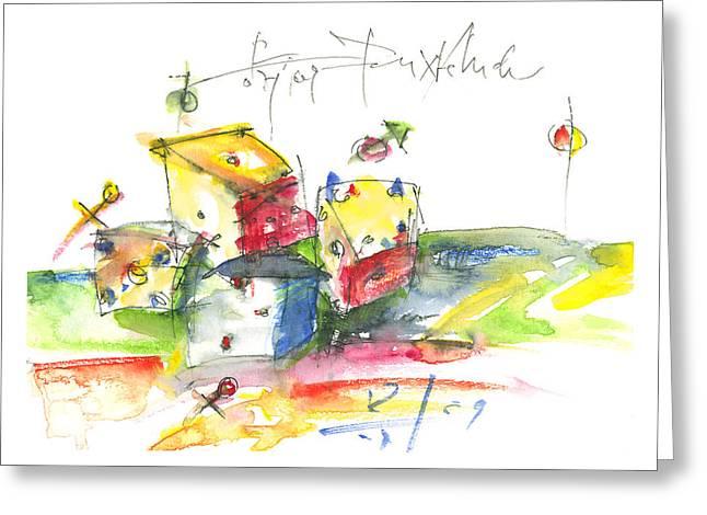 Dice Greeting Card by Joerg Bernhard Klemmer