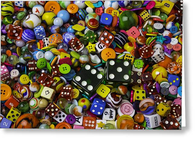 Dice Marbles With Buttons Greeting Card by Garry Gay