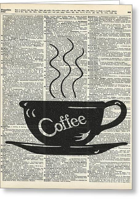 Dictionary Art Hot Coffee Cup Greeting Card