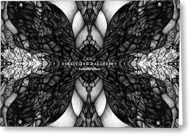 Greeting Card featuring the drawing Didgitized Ballpoint Butterfly Effect by Jack Dillhunt