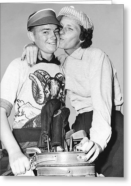 Didrikson Kisses Caddy Greeting Card by Underwood Archives