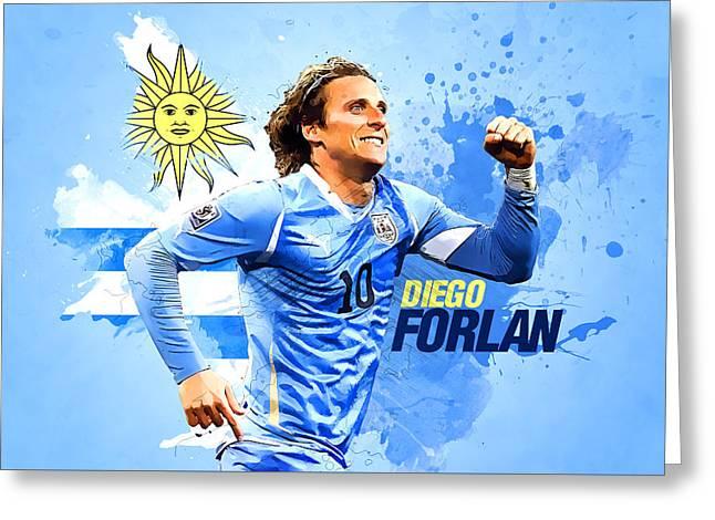 Diego Forlan Greeting Card by Semih Yurdabak