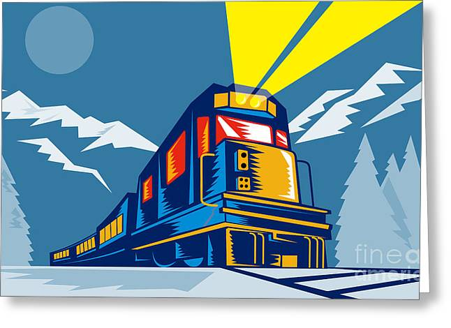 Diesel Train Winter Greeting Card