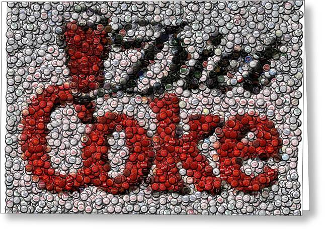 Mosaic Mixed Media Greeting Cards - Diet Coke Bottle Cap Mosaic Greeting Card by Paul Van Scott