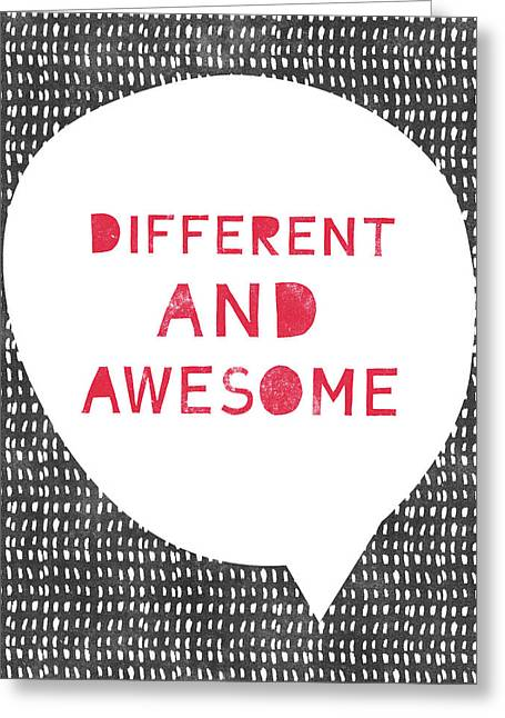 Different And Awesome Red- Art By Linda Woods Greeting Card