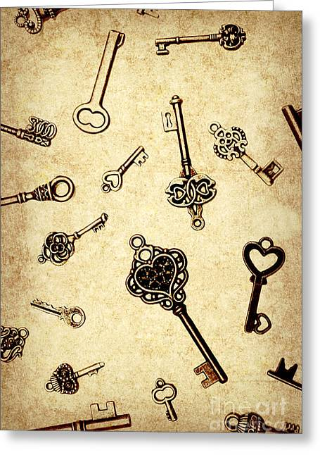 Different Keys On Textured Brown Background Greeting Card
