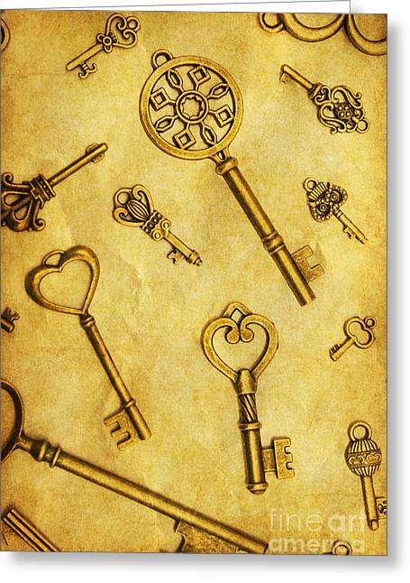 Different Vintage Keys On Yellow Background Greeting Card by Jorgo Photography - Wall Art Gallery