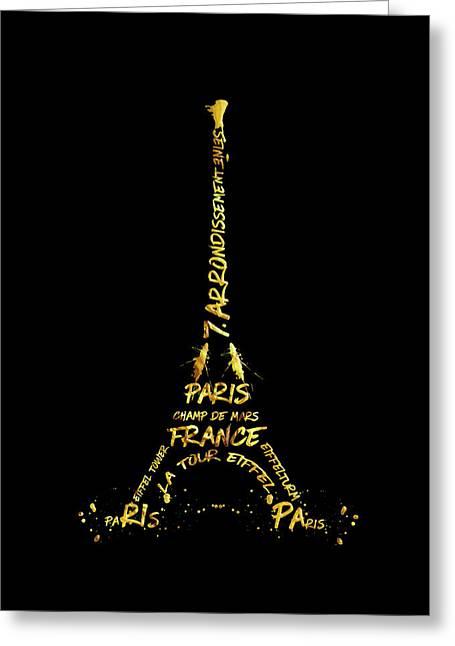 Digital-art Eiffel Tower - Black And Golden Greeting Card by Melanie Viola