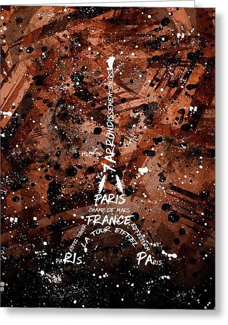 Digital Art Eiffel Tower - Brown Greeting Card by Melanie Viola