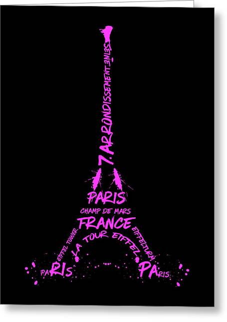 Digital-art Eiffel Tower Pink Greeting Card by Melanie Viola