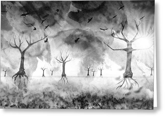 Digital-art Fantasy Landscape IIi Greeting Card by Melanie Viola