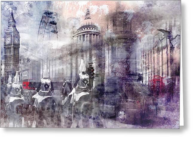 Digital-art London Composing II Greeting Card by Melanie Viola