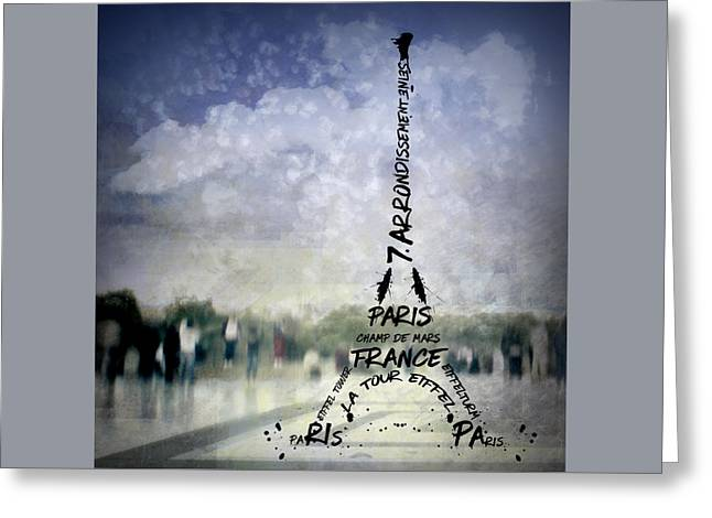 Digital-art Paris Eiffel Tower No 1 Greeting Card by Melanie Viola