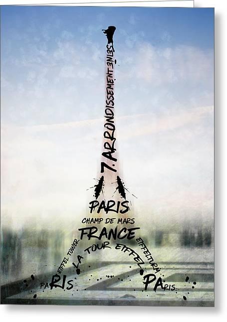 Digital-art Paris Eiffel Tower No 3 Greeting Card by Melanie Viola