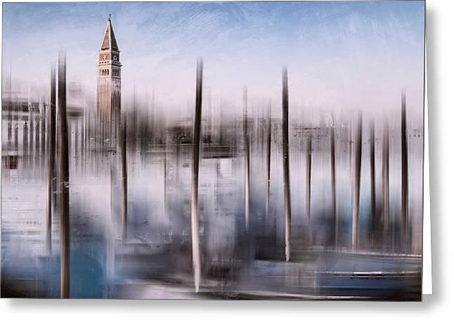 Digital Art Venice St Marks Campanile And Grand Canal Greeting Card by Melanie Viola