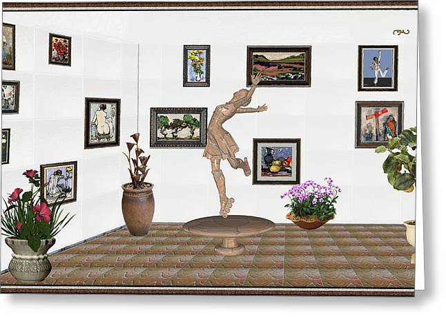 digital exhibition _ A sculpture of a dancing girl 14 Greeting Card by Pemaro