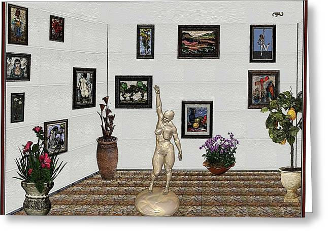 Greeting Card featuring the digital art Digital Exhibition 17 by Pemaro
