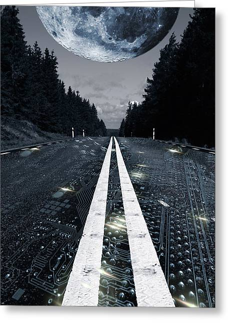 Digital Highway And A Full Moon Greeting Card by Christian Lagereek