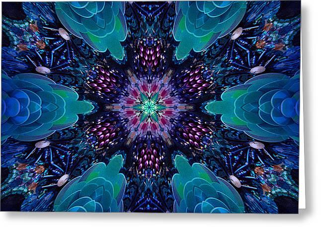 Digital Kaleidoscope Mosaic 089 Greeting Card by Sofia Metal Queen